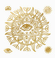 sun icon set yellow star icons collection vector image vector image