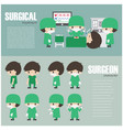 surgical infographics element and set of surgeon vector image vector image
