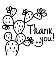 thanks card with cactus succulent and text hand vector image vector image
