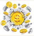 the gold dollar coin breaking through concrete vector image