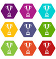 trophy cup icon set color hexahedron vector image vector image