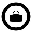 woman bag icon black color in circle vector image vector image