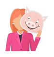 Woman with Pig Mask Flat Design vector image vector image