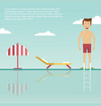 young man is ready to jump into swimming pool vector image
