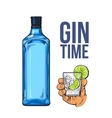 Blue gin bottle hand holding glass with ice and vector image