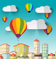 Hot Air Balloons on Blue Sky and City vector image
