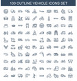 100 vehicle icons vector image vector image