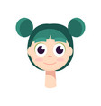 a young girl with big black eyes and green hair vector image vector image