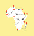 africa map with airplane flight paths on a yellow vector image vector image