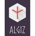 Algiz rune of Elder Futhark in trend flat style vector image vector image