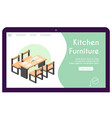 banner kitchen furniture in isometric vector image vector image