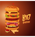 big burger multi-storey high hamburger cartoon vector image vector image