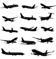 black and white silhouettes 0f passenger airplane