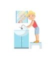Boy Washing Hands In Bathroom Tap vector image vector image