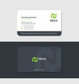 business card with map icon and green letter n vector image vector image