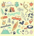 camping freehand hand drawn doodle vector image vector image