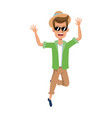 cartoon man traveler joyful fun leaping for joy vector image vector image