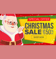 christmas sale banner with classic santa claus vector image vector image