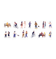 colorful collection people spending time vector image vector image