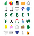 colorful fintech flat icons with reflection vector image vector image