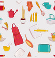 cooking kitchen seamless pattern set home decor vector image vector image