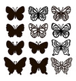 cut butterflies monochrome insect sketch vector image