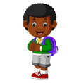 cute boy go to school cartoon vector image vector image