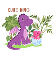 cute dino family brontosaurus baand parent vector image vector image