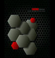 Dark gray hexagons technology background vector image
