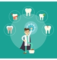 Dental treatment banner with male dentist vector image vector image