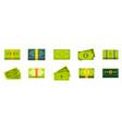 dollar icon set flat style vector image