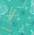 Doodle background with apple pear and snowflakes vector image vector image