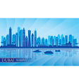 Dubai Marina City skyline silhouette background vector image vector image