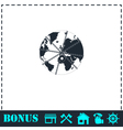 Earth globe in strong chain icon flat vector image vector image
