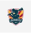 emblem seal badge lacrosse girl team logo vector image vector image