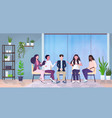 female psychologist talking with patients group vector image