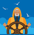 fisherman at helm against cloudy sky and seagulls vector image