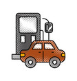 gas station and car icon over white background vector image vector image