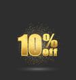 gold glitter textten percent off10 off discount vector image