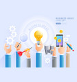 group business hands holding light bulb vector image