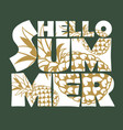 hello summer lettering with pineapple vector image vector image