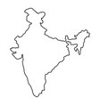 india map of black contour curves of vector image vector image