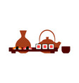 japanese restaurant table setting sushi and tea vector image