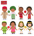 kids in different traditional costumes nigeria vector image vector image