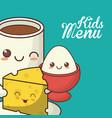 kids menu nutrition diet food vector image vector image