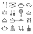 kitchenware line icons vector image