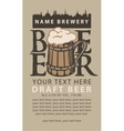 label beer with wooden glass vector image vector image
