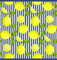 lemon with green leaves on striped background vector image vector image