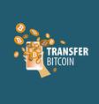 logo bitcoin money transfer vector image vector image