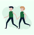 man and woman couple running vector image vector image